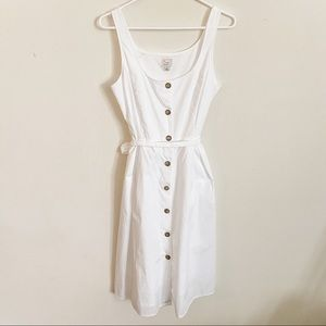 A New Day Sleeveless Square Neck Button Down Dress